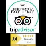 Trip advisor & AA 5 gold pennant logos